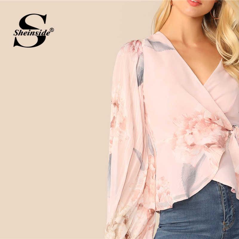 Sheinside أنيقة فانوس كم بلوزة النساء 2019 الربيع مطوي الزهور طباعة البلوزات السيدات الوردي V الرقبة التفاف الشيفون أعلى