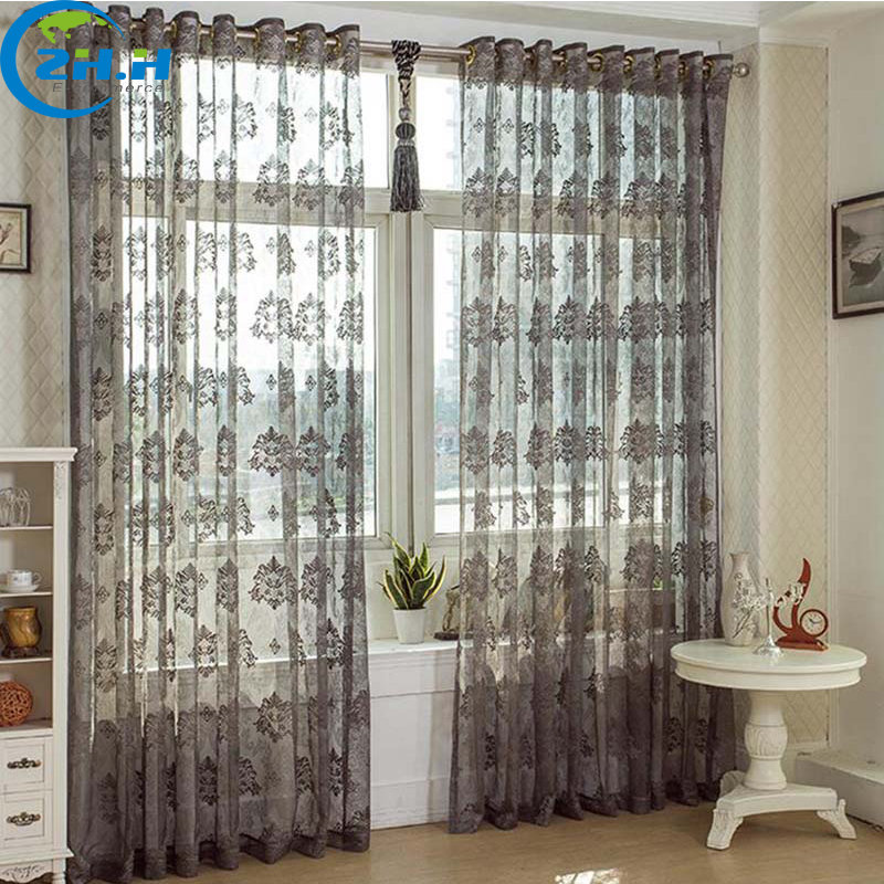 zhh single panel gray hollow out embroidered bud silk tulle voile curtain for bedroom window decoraion