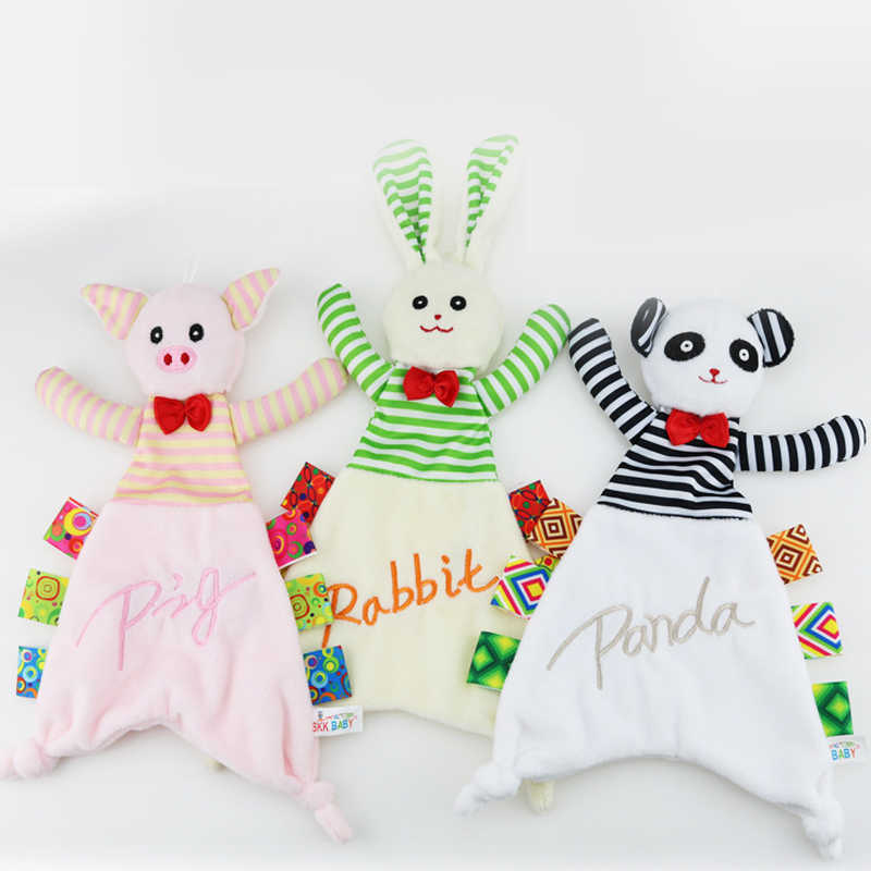 Baby Infant Plush Appease Towel Pig Rabbit Panda Animal Toy Soft Cloth Newborn Puppet Ribbon Kids Boy Girl Gift Early Learn Toys