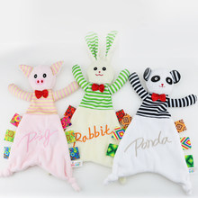 Baby Infant Plush Appease Towel Pig Rabbit Panda Animal Toy Soft Cloth Newborn Puppet Ribbon Kids Boy Girl Gift Early Learn Toys(China)