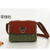British style new paper rope frame cow nose lock fashion straw bag holiday beach diagonal cross bag