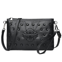 Genuine Leather Shoulder Messenger Bags Fashion Ladies Hand bag Luxury Crossbody Bags For Women 2019 Rivet Female Clutch Bag недорого