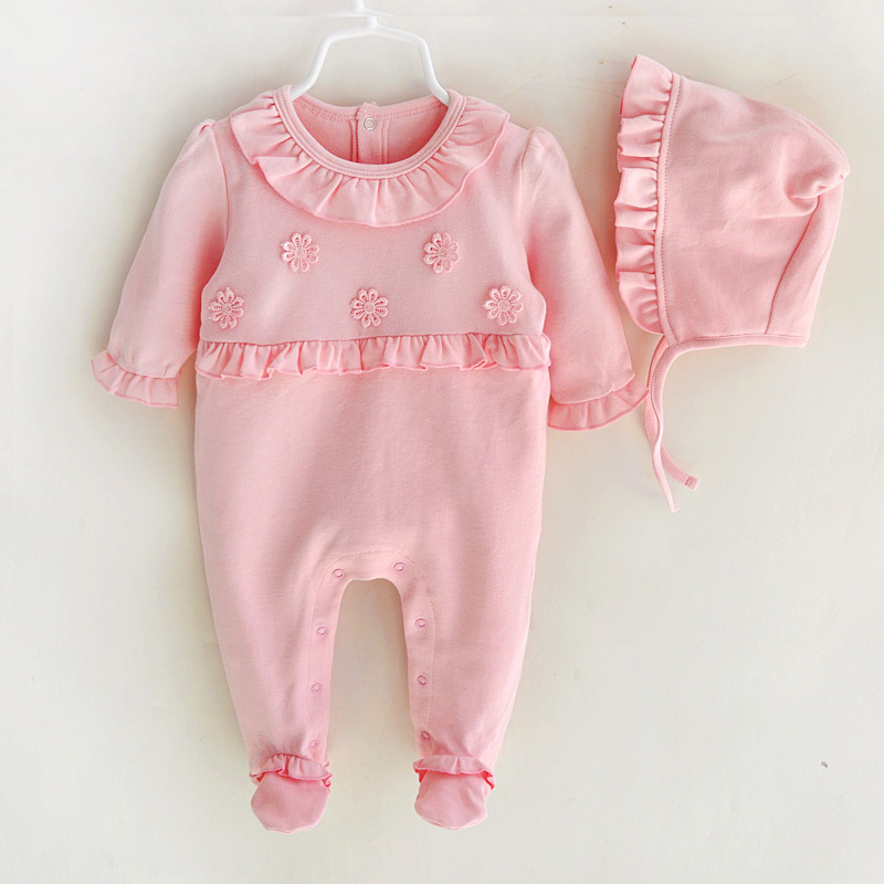 Newborn Baby Girls Rompers Clothes Spring Autumn Cotton Princess Flowers Clothing Set Infant Girl Jumpsuit with Hats mother nest 3sets lot wholesale autumn toddle girl long sleeve baby clothing one piece boys baby pajamas infant clothes rompers