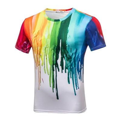 2019 Unisex 3D acuarela colorida pintura camisetas verano hombres cuello redondo manga corta Tops moda Casual camisetas