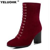 Large Size 43 Women High Boots Mid Calf Suede Women Autumn Shoes High Heels Casual Riding