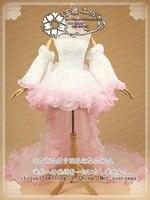 VOCALOID Мегурине лука белое свадебное платье для вечеринки Косплей Костюм Платье + хвост + бант + рукава + вуаль + цветок + головной убор + носки