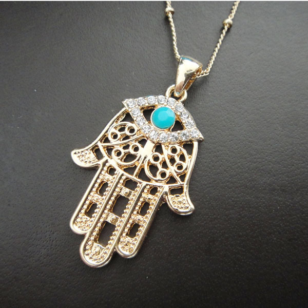 Gold hamsa hand rhinestone evil eye pendant lucky jewelry protection gold hamsa hand rhinestone evil eye pendant lucky jewelry protection necklace hand of fatima jewelry turkey aloadofball