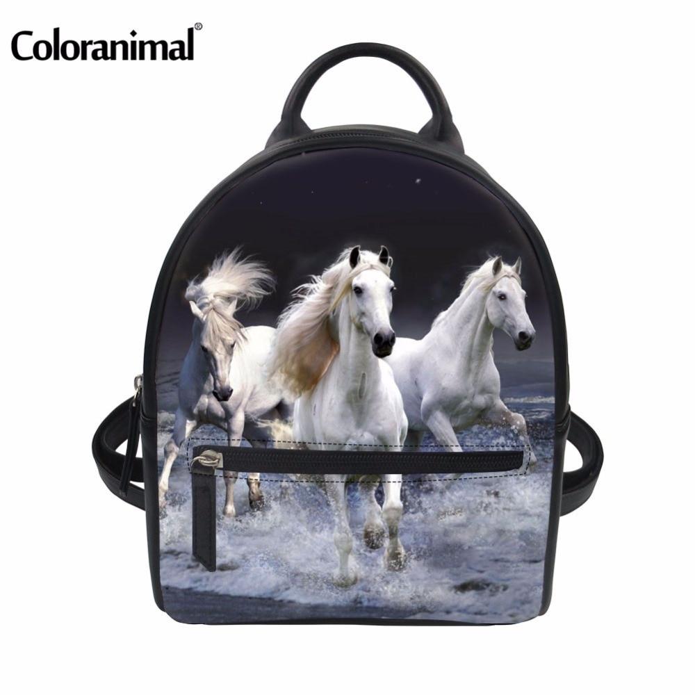 6db69dc77525 Aliexpress.com : Buy Coloranimal 3D Animal Crazy Horse Pug Dog Print Women  Backpack straps sling string Rucksack School Bag for Teen Girl Boy Satchel  ...