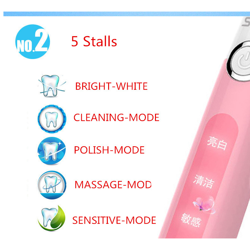 Seago SG-507 Sonic Electric Adult Timer Brush USB Rechargeable Tooth Brushes Waterproof And Non-slip цена