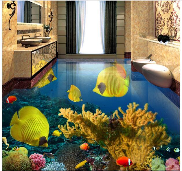 3d pvc flooring custom mural Self adhesive waterproof  floor Tropical fish sea painting picture photo wallpaper for walls 3d