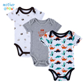 Babador 3PCS 100% infantil Algodão Corpo Bebes manga curta roupas semelhantes Carters impressa jumpsuit bebé menina Camiseta