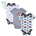 Babador 3PCS 100% infantil Algodão Corpo Bebes manga curta roupas semelhantes Carters impressa jumpsuit bebé menina Camiseta