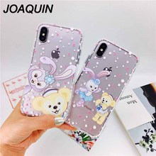 Lovely Cartoon Rabbit Bear Couples Phone Case For iphone X 6 6S 7 8 Plus Cases Clear Back Soft TPU Cover