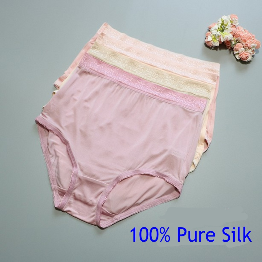 4 PACK 100% Pure Silk Knit Women's High Waist Underwear Brief Lingerie M L XL 2XL SG005