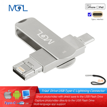 MGL Usb флеш-накопитель 8 ГБ 16 ГБ 32 ГБ 128 ГБ флеш-накопитель 64 ГБ type-C для iphone 8 7 Plus 6 6s Plus 5S ipad Флешка otg usb