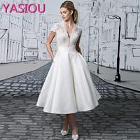 White Evening Dresses 2017 Formal Dresses V Neck Elegant Evening Gowns Short Sleeve Tea Length Vestido