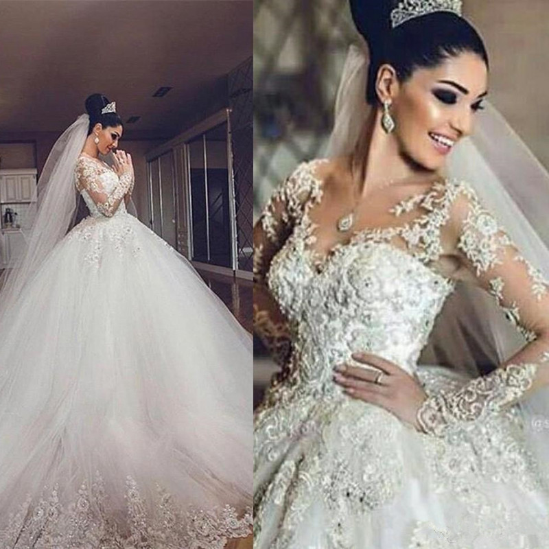 DREAMY BRIDAL 2019 New African Vintage Wedding Dress 3D Appliques Long Sleeves Luxury Tulle Saudi Arabia
