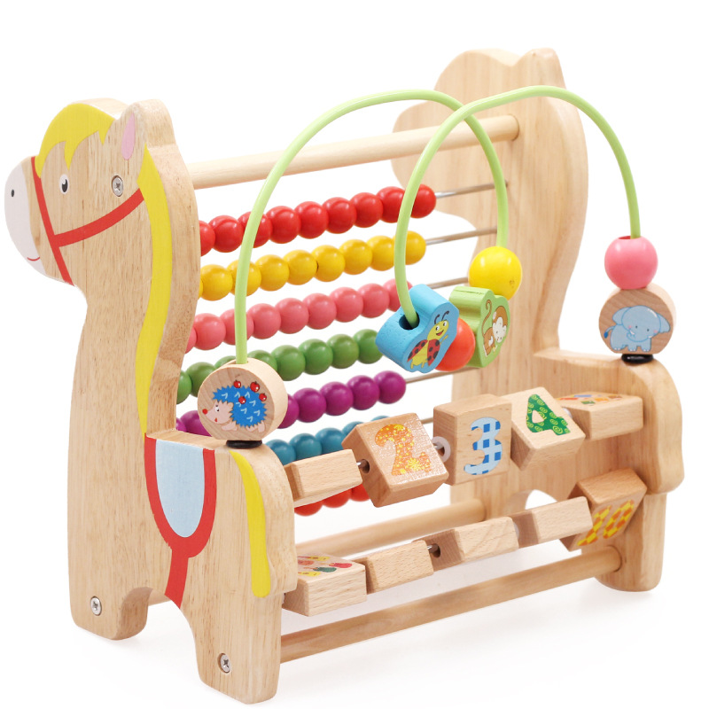 MamimamiHome Baby Wooden Educational Toys Multi-functional Beads Trojan Horse Learning Combination Math Toys