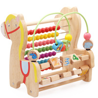 MamimamiHome Baby Wooden Educational Toys Multi functional Beads Trojan Horse Learning Combination Math Toys