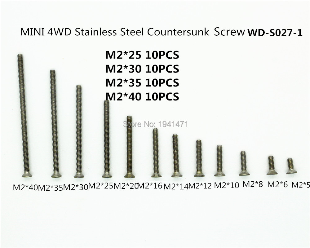 RFDTYGR  M2 Stainless Steel Countersunk Screws Self-made Parts For Tamiya MINI 4WD M2 Countersunk   Screws WD-S027-1  40pcs/lot