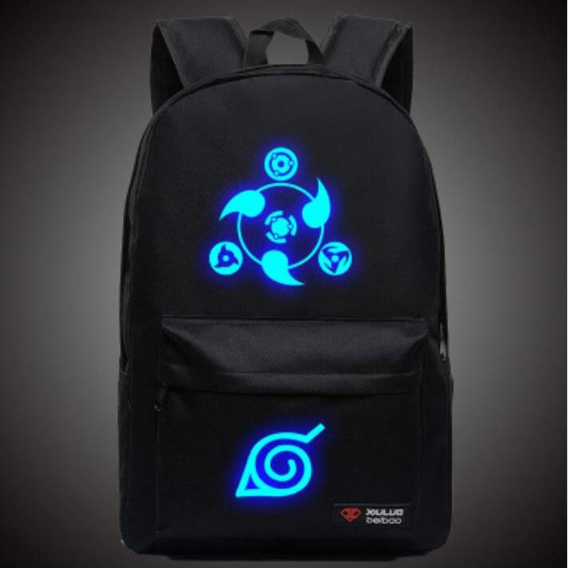 Hot Naruto Luminous Rucksack Hokage School Travel laptop Bag for Teenagers Japanese Anime Canvas Backpack Bolsas