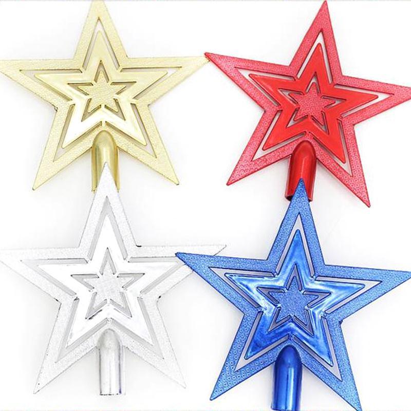 10cm Silver Gold Red Blue Powder Christmas Star Christmas Tree Toppers Christmas Tree Ornaments ...