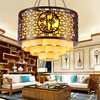 Chinese Style Iron Restaurant Lobby Hall Wood Pendant Lights Chinese Creative Living Room Lamps Retro Decoration