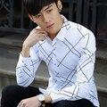Nova Primavera Homens Casuais Tipo de Personalidade Juventude Camisa de Manga Cheio Branco Safira 906