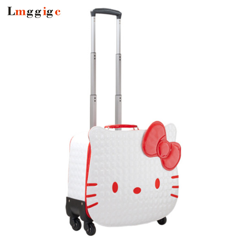 цена на Kids Hello Kitty Rolling Luggage bag,Lovely Child Travel Suitcase,PU Cartoon Box,18 inch Women Trolley Case ,Gift for Children