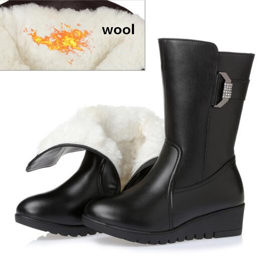ФОТО 2016 Genuine Leather Women's Winter Boots, Pure Wool Women's Motorcycle Boots Slope & Slip Women's Snow Boots, Free Shipping