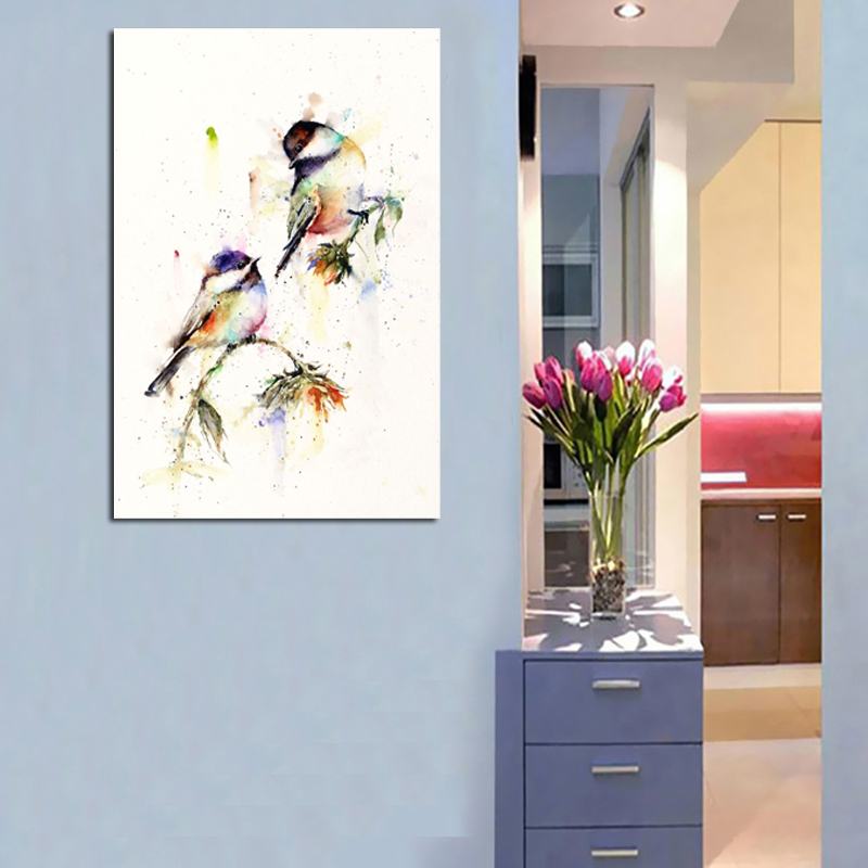 Animal Print Watercolor Chickadees Canvas Painting Prints Bedroom Home Decoration Modern Wall Art Oil Painting Posters Pictures in Painting Calligraphy from Home Garden