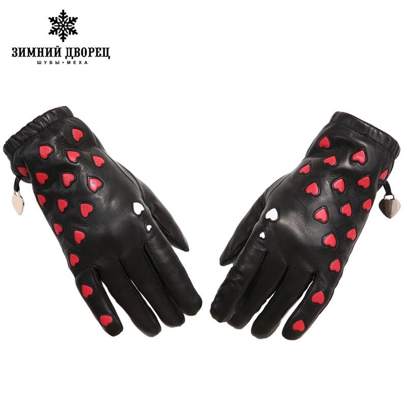 Nueva moda guantes de cuero genuino de las mujeres populares corazón ...