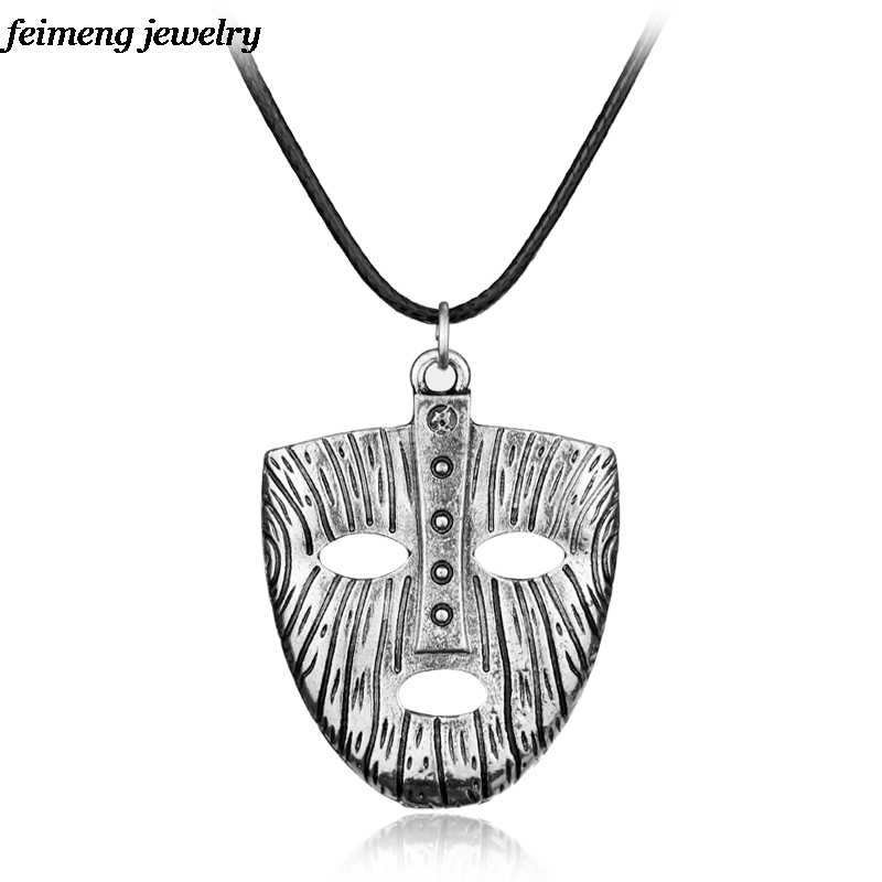 Drop Shipping THE MASK of Loki NORSE/VIKING God Silver Pewter pendant/Charm/Amulet Odin/Thor Pendant Necklace
