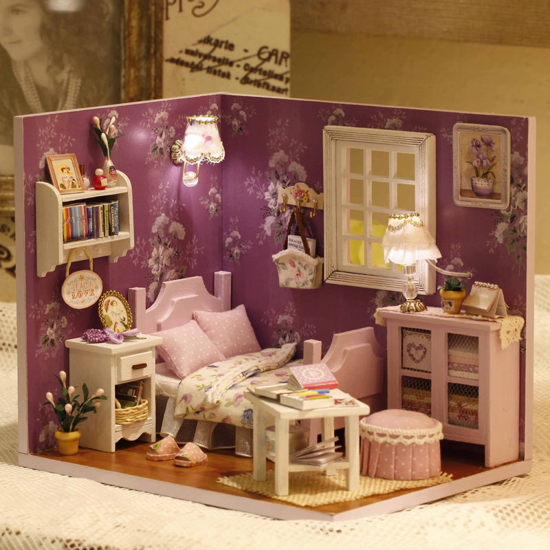 DIY Doll House Miniature Dollhouse With Furnitures And Dust Cover Wooden Doll House Creative Toys For Kids H001 #E