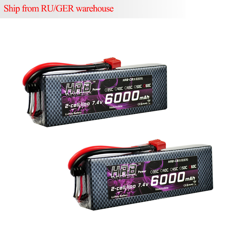 2pcs HRB Hard Case RC Lipo 2S Battery 7.4V 6000mAh 60C MAX 120C For RC 1/10 Scale Traxxas Car RC Boat Helicopter Quadcopter hrb rc lipo battery 14 8v 2600mah 35c 70c for rc helicopters quadcopter car fpv racing league