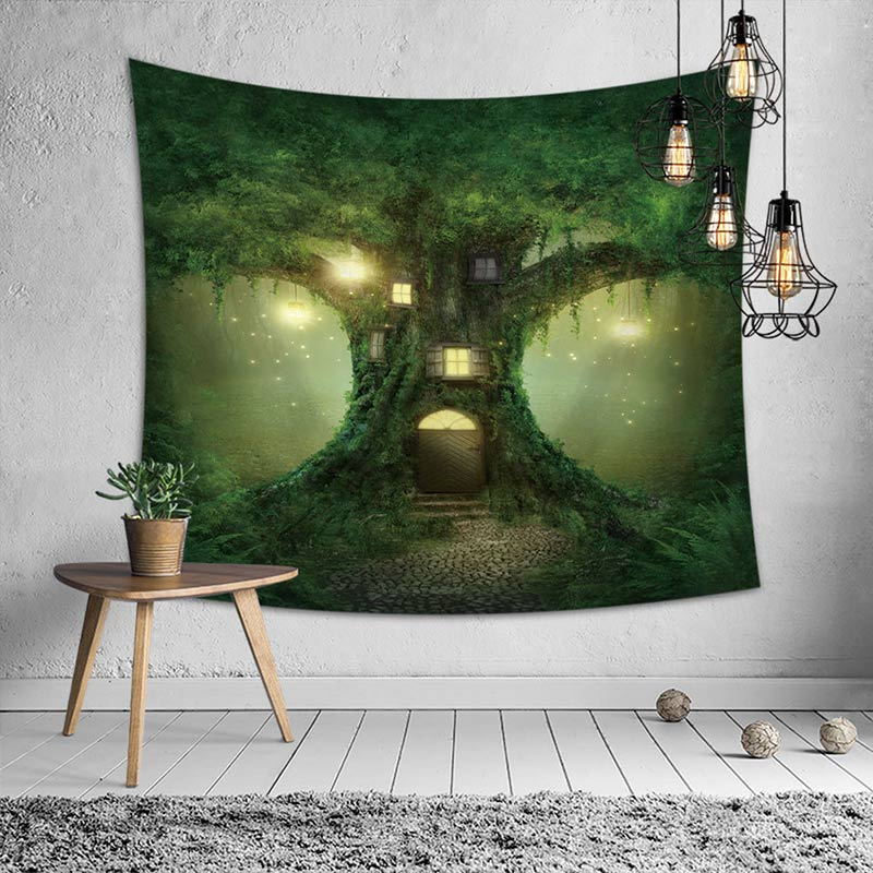 Forest Tapestry <font><b>Tenture</b></font> <font><b>Mural</b></font> Tapices <font><b>Macrame</b></font> Wall Hanging Decoration Cloth Tapestry Fabric Home Decoration Accessories image