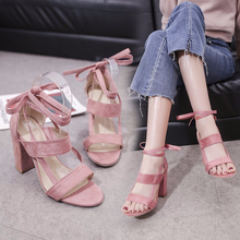 2019 Spring States new pointed high-heeled shoes with shallow mouth buckle female shoes suede straps single shoes стоимость