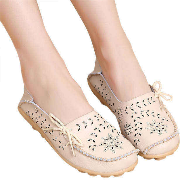 5eb26cee717 Online Shop 2018 Hot Women Flats Shoes Women loafers Ladies Slip on Flats 9  Color Genuine Leather Shoes Driving Casual Women Shoes Plus Size