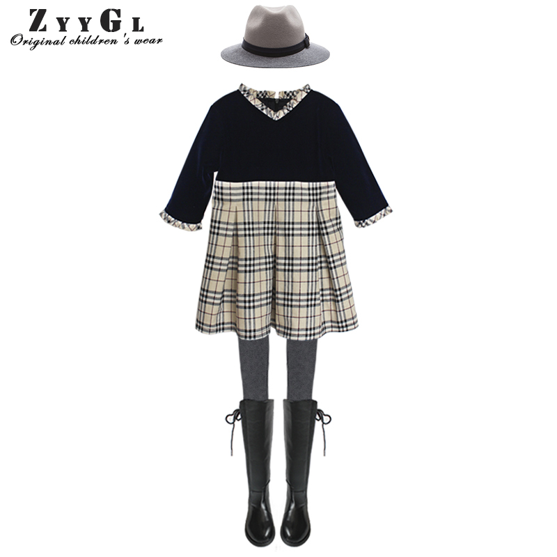 ZYYGL European and American style children dress V neck baby girls dress Kids Dresses for Girls Clothes Princess Dress Children 100% real photo brand kids red heart sleeve dress american and european style hollow girls clothes baby girl clothes