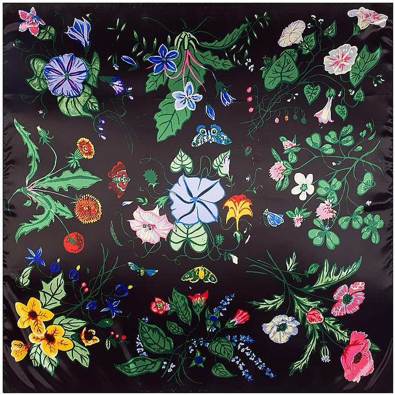 2017 New Design Winter Black Morning Glory Flower Square Silk Scarf Lady Spring Headband Shawl Women Foulard Bandana 90*90cmM241