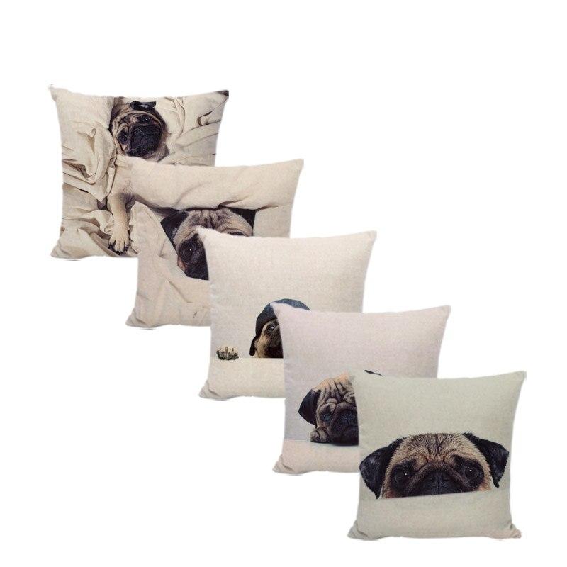 Fashion Cartoon Animal Cushion Cover Pug Dog Children 45*45cm Square Wrap Quilt Decor Car Sofa Throw Pillowcase Almofada Cojines