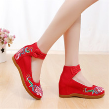 New ethnic style double buckle canvas increased womens shoes casual fashion embroidery sneakers Vulcanize