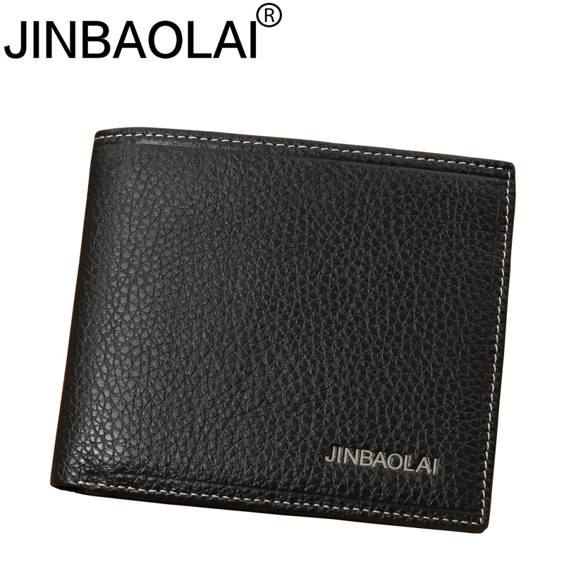 JINBAOLAI Simple Men Wallets Leather Genuine Card Holder Wallet Solid Short Male Purse Business Brand Wallets for men carteira jinbaolai men credit card holder leather luxury rfid card wallets brand male purse dollar price business wallet bid092 pr15