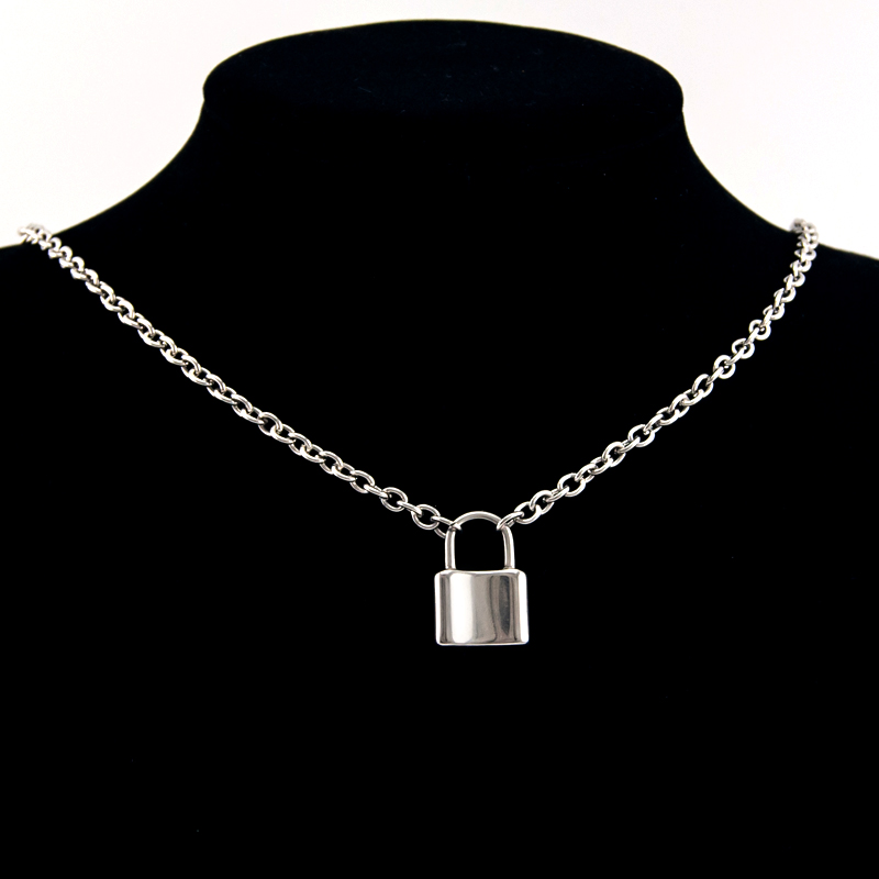 Men Jewelry S.steel Lock pendant necklace Brand new Stainless Steel Rolo Cable Chain necklace ...