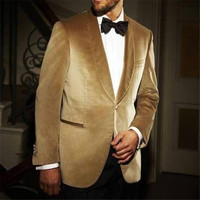 2018 new Shawl Lapel Gold Velvet Mens Suit One Button Black Pants Custom Made Wedding Groom Tuxedo suits for men (Jackets+Pants)