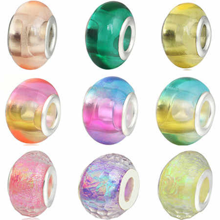 2019 Free Shipping European Colorful Lampwork Glass Beads Murano Aolly Charm Bead Fit Pandora For Girl DIY Bracelets & Bangles