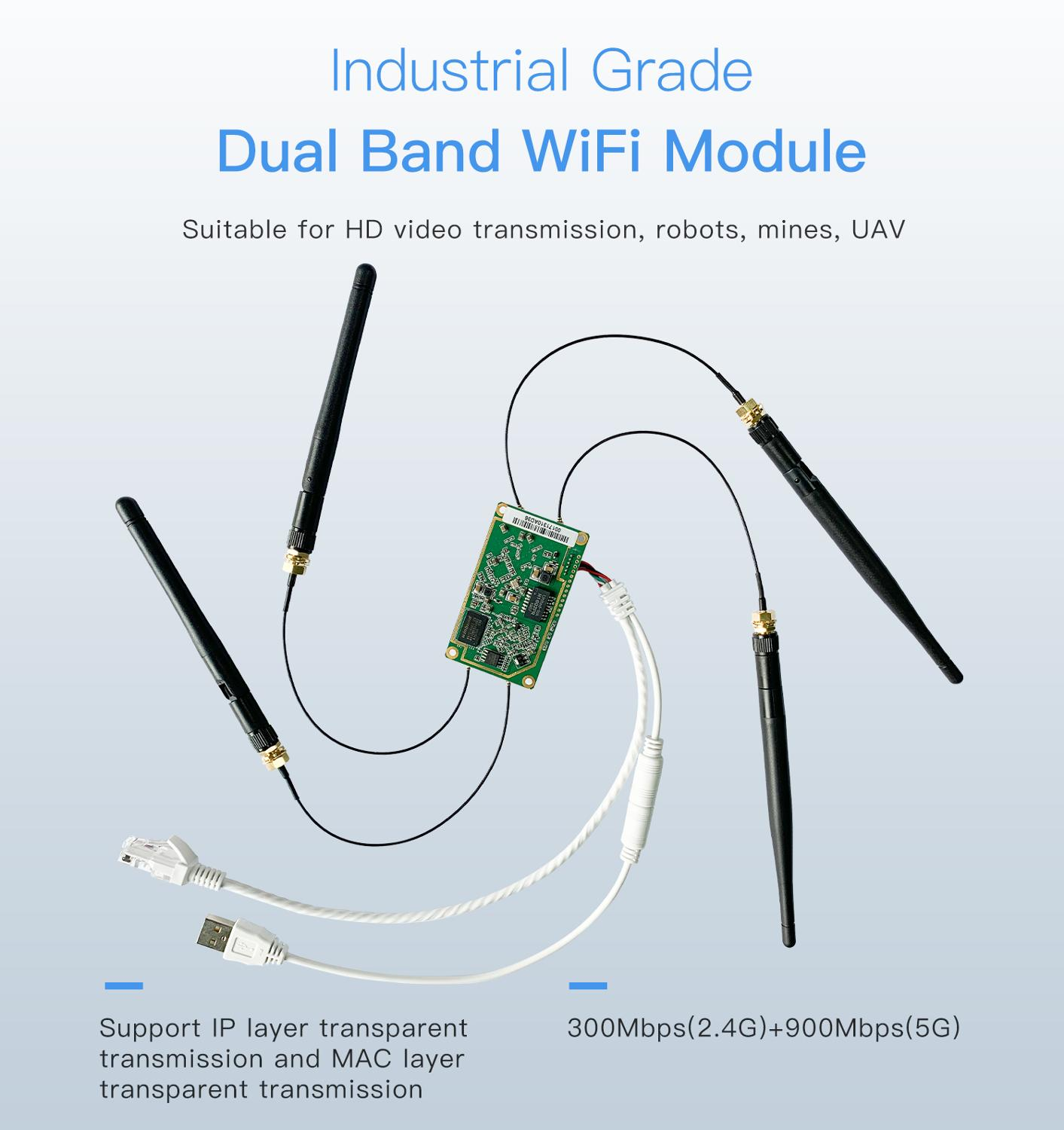 VONETS industrial grade 5g dual-band wifi module 1200M wireless bridge repeater to cable