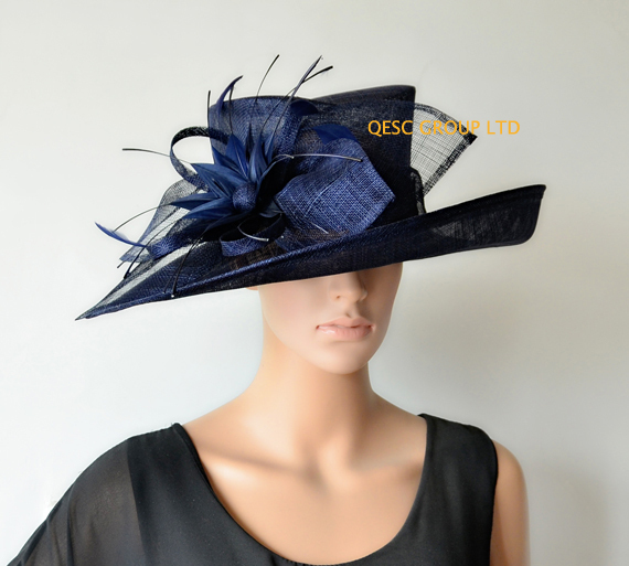 3a84ef8be54 NAVY blue chapeau wide brim Dress Church Sinamay Hats with feather flowers  for Ascot Races