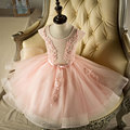 A line Tank Cap Sleeve Tulle White Ivory Peach Satin Flower Girl Dresses for Weddings First Communion Dresses WF-129