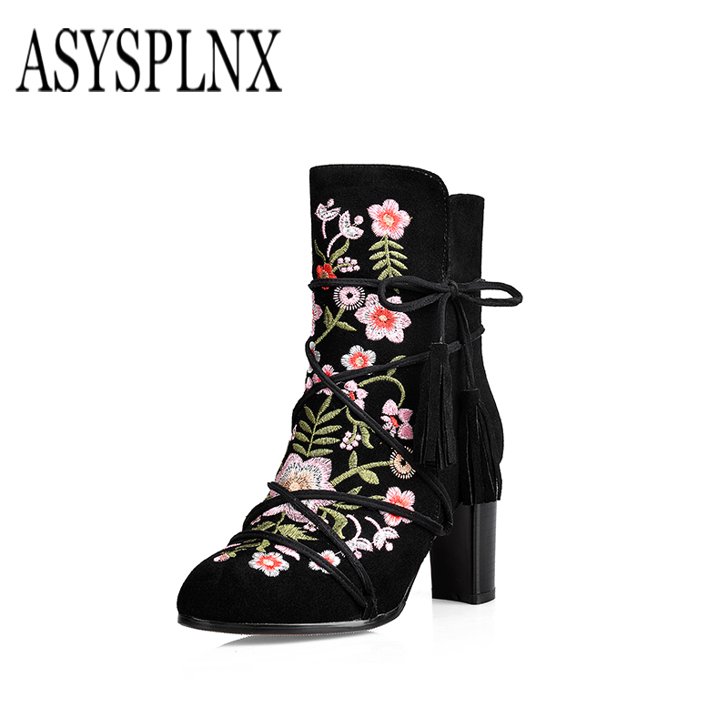 ASYSPLNX 2017 winter new genuine flock leather national in the tip of the embroidery tassel high heel shoes women's boots C-094 the national high violet